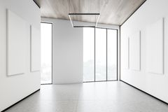 Posters in white loft gallery. Interior of modern gallery with vertical mock up posters hanging on white walls. Loft windows, wooden ceiling and concrete floor vector illustration