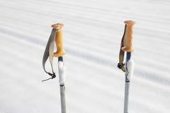 Postes de esquí en la nieve fotografía de archivo