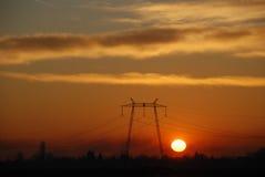 Postes de la línea eléctrica Fotografía de archivo libre de regalías