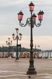 Postes de luz de Veneza. Imagem de Stock