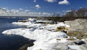 Postes del hielo en una costa Imagen de archivo