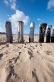 Postes en la playa fotografía de archivo libre de regalías