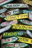 Postes indicadores al mundo Imagen de archivo libre de regalías