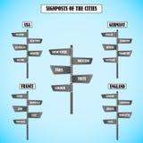 Postes indicadores con diversos nombres de la ciudad Imagen de archivo