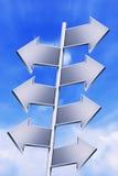 Postes indicadores vacíos con el cielo azul brillante 2 Fotografía de archivo libre de regalías