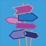 Postes indicadores y direcciones stock de ilustración