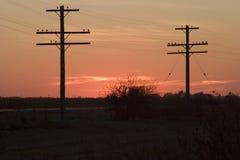 Postes y puesta del sol de teléfono Fotografía de archivo libre de regalías