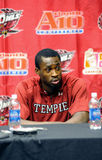 Postgame Press Conference - Michael Eric. PHILADELPHIA - DECEMBER 12: Temple Owls center Michael Eric listens to a question during the postgame press conference stock images