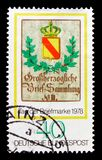 Posthouse shield, Baden 1844, Stamp Day and World Philatelic Movement serie, circa 1978. MOSCOW, RUSSIA - OCTOBER 21, 2017: A stamp printed in Germany Federal Stock Photography