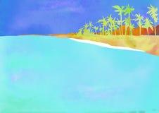 Posti esotici Hawai, Haiti, Maldive, paesi caldi Illustrazione dell'acquerello nello stile di scultura della carta Con le palme illustrazione vettoriale