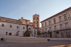 Postigline Square in Raiano (Italy). Postigline Square in Raiano AQ-Italy Royalty Free Stock Images