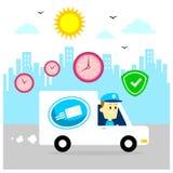 Postino che consegna i pacchetti guidando Van, velocemente e cassaforte Immagini Stock Libere da Diritti