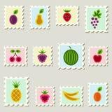 Postinställda fruktstämplar. vektor illustrationer