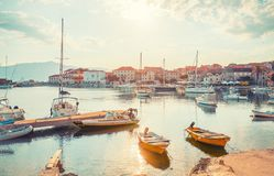 POSTIRA, CROATIA - JULY 13, 2017: Lots of beautiful yachts in the harbor of a small town Postira - Croatia, island Brac. POSTIRA, CROATIA - JULY 13, 2017: Lots Royalty Free Stock Photography