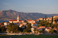 Picturesque scene of village Postira on Brac islan Stock Photos
