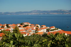 Picturesque scen of village of Postira on Brac isl Stock Images
