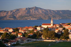 Picturesque scene of village Postira on Brac islan Royalty Free Stock Image