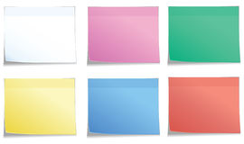 Postit in 6 colors. Postit in 6 color, white, pink, green, yellow, blue, red Royalty Free Stock Photo