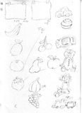 Postit fruit frames, teddy ball and trinkets sketch pencil drawing, draft Royalty Free Stock Photography