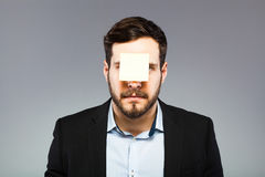 Postit on man face Royalty Free Stock Photos