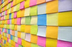 Postit. Many postit put on the board multi color Royalty Free Stock Image