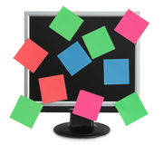 Postit in the monitor. LCD monitor with color postit Stock Photos