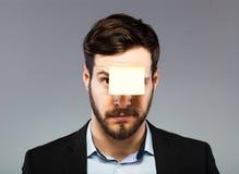 Postit na mężczyzna twarzy Zdjęcia Stock