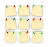 Postit notes. Nine Postit notes with differently colored push pins Stock Images
