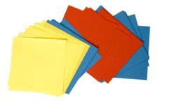 Postit Notes. Colored Postit Notes on white Royalty Free Stock Photo