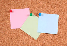 Postit Notes. On a Corkboard Royalty Free Stock Photography