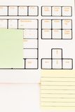 Postit notes on a keyboard Royalty Free Stock Photo