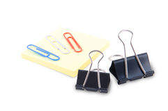 Postit and paperclips stock images