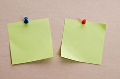 Postit reminder. Two postit  memo message reminders Stock Images