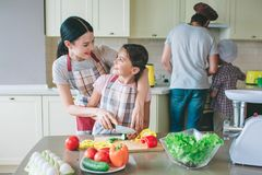 Postive girl are looking at each other and smiling. Mother helps her daughter to cut vegetables in a right way. Dad. Cooks food with son at stove Stock Image