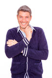 Postive smile. Positive smiling male white teeth Stock Image