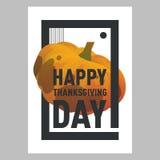 Postkard тыквы счастливого официальный праздник в США в память первых колонистов Массачусетса оранжевое Праздник осени Стоковые Фотографии RF