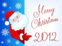 Postkarte 2012 der frohen Weihnachten mit freundlicher Sankt Cla Stockfoto