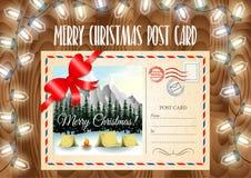 Postkarte der frohen Weihnachten auf der hölzernen Tabelle mit Girlande beleuchtet Lizenzfreie Stockfotos