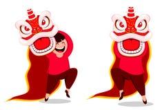 Postkarte des Chinesischen Neujahrsfests mit traditionellem Löwe vektor abbildung