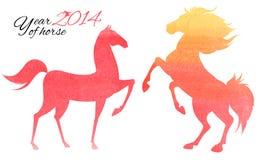 Postkarte für 2014-jähriges des Pferds. Vektor Abbildung