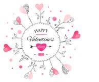 Postkarte für Valentinstag Lizenzfreie Abbildung