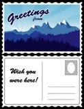 Postkarte, Gebirgslandschaft Lizenzfreies Stockfoto