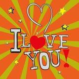 Postkarte ich liebe dich! im Vektor ENV 10 Lizenzfreies Stockbild