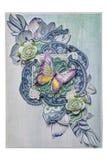 Postkarte im Stil des Scrapbookings mit einem Schmetterling und Rosen Lizenzfreies Stockfoto