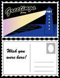 Postkarte, Küste-Leuchtturm-Landschaft Stockfotos