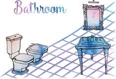 Postkarte malte Badezimmerwaschbecken mit antikem klassischem Spiegel, Stockfotos
