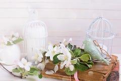 Postkarte mit Apfelblüte, dekorativer Vogel, alte Bücher, Kerzen Lizenzfreie Stockbilder