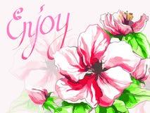 Postkarte mit Aquarellapfelblume Stockbild