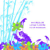 Postkarte mit Aquarelllotosblumenvektor Lizenzfreie Stockbilder