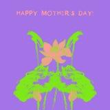 Postkarte mit Aquarelllotosblumenvektor Stockbild